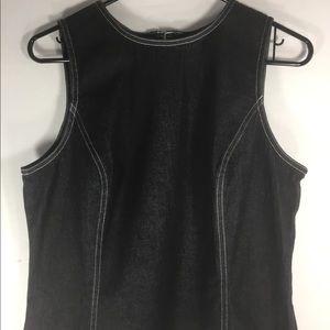 Black Denim LOFT Sleeveless Top W Top Stitching.